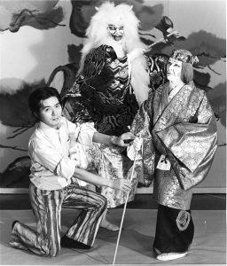 Shozo Sato with Kabuki Actors in costume