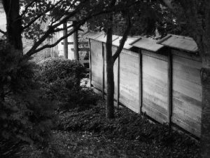 side of Japan House with trees