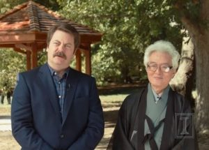 Nick Offerman standing with Shozo Sato in front of a Gazebo