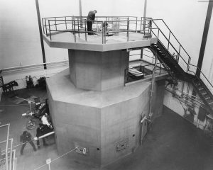 nuclear reactor with people working on it