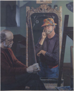 somber man in chair with reflection showing him thinking in a colorful hat